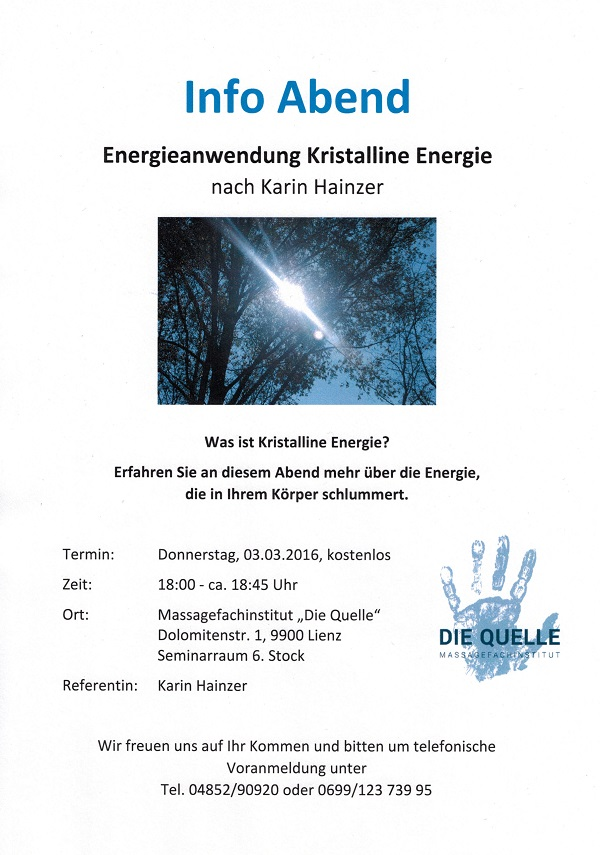 Informationsabend Kristalline Energie