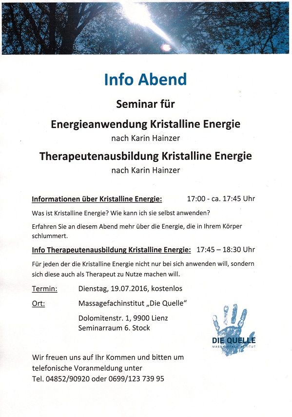 Infoabend Kristalline Energie u. Therapeutenausbildung