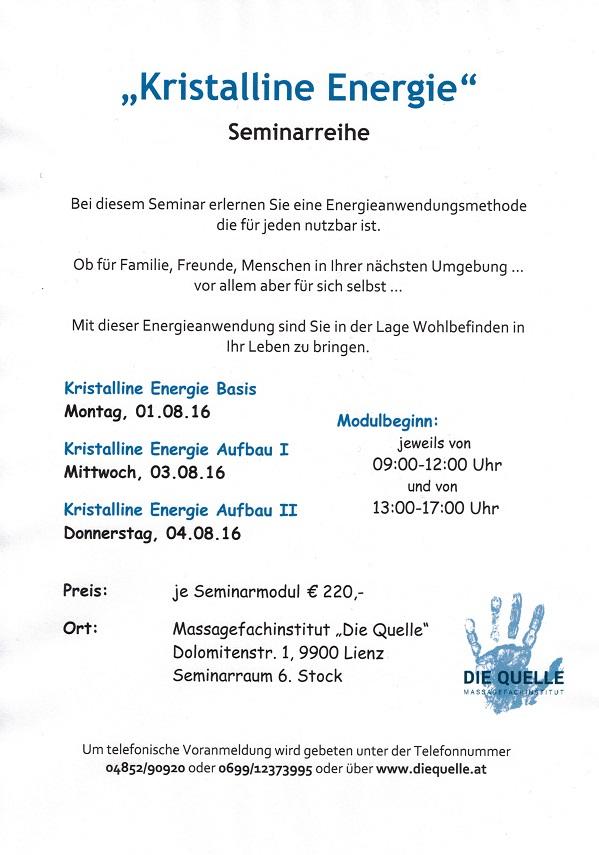 Kristalline Energie Seminarreihe Anfang August